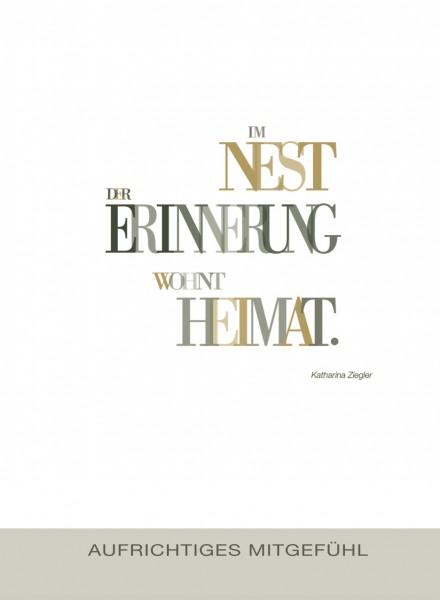 Trauerkarte - Im Nest der Erinnerung...